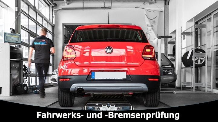 Prüfstand, VW Polo, Werkstattarbeiter