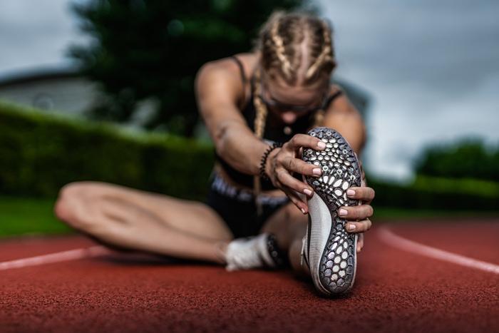 Läuferin, Schuhe, Spikes, Frau, Athletin, Nike, Spikes, Laufbahn